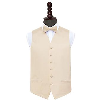 Champagne Plain Satin Wedding Waistcoat & Bow Tie Set