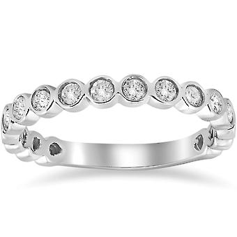 1/2ct Bezel Stackable Diamond Ring 14K White Gold