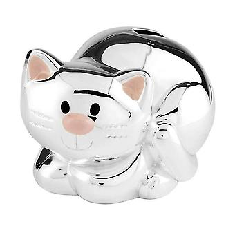 Orton West Cat Money Box - Silver