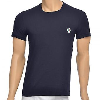 Dolce & Gabbana Sport Crest Crew Neck Stretch Cotton T-Shirt, Navy, X-Large