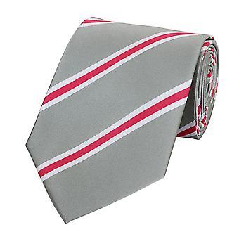 Cravate laine, cravate cravate 8cm léger gris rose Fabio Farini blanc rayé