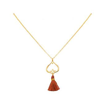 -Pendant - 925 Silver - gold plated - Lotus Flower - tassel ladies - necklace - Maroon - YOGA - 45 cm