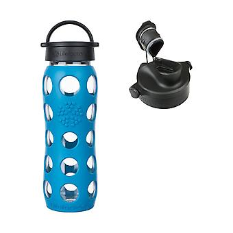 Lifefactory 22 oz Teal Lake Glass Bottle Core 2.0 with Onyx Active Flip Cap