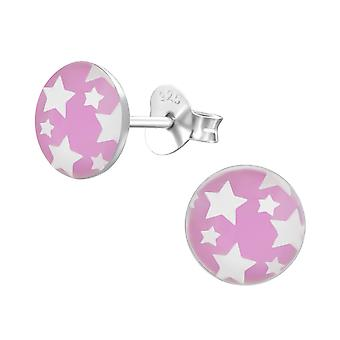 Stars - 925 Sterling Silver Colourful Ear Studs - W19703x