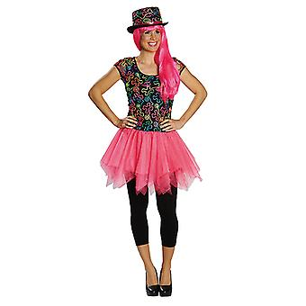 Freaky dress 80's neon pink costume with skirt for ladies