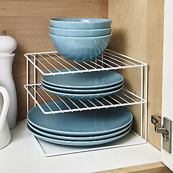 3 Tier Plate Organiser For Kitchen Cupboard Or Worktop - White