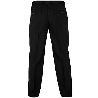 D555 Max Mens Big and Tall King Size Cotton Xtenda Waist Trousers Pants - Black