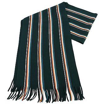 Bassin and Brown Puskas Striped Wool Scarf  - Green/Cream/Tango