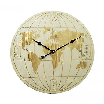 Themed Wall Clock Modern Beige Globe-Re6153-Rebecca's Furniture