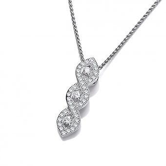 Francese di Cavendish scintillanti tripla torsione pendente con catena d'argento di 16-18