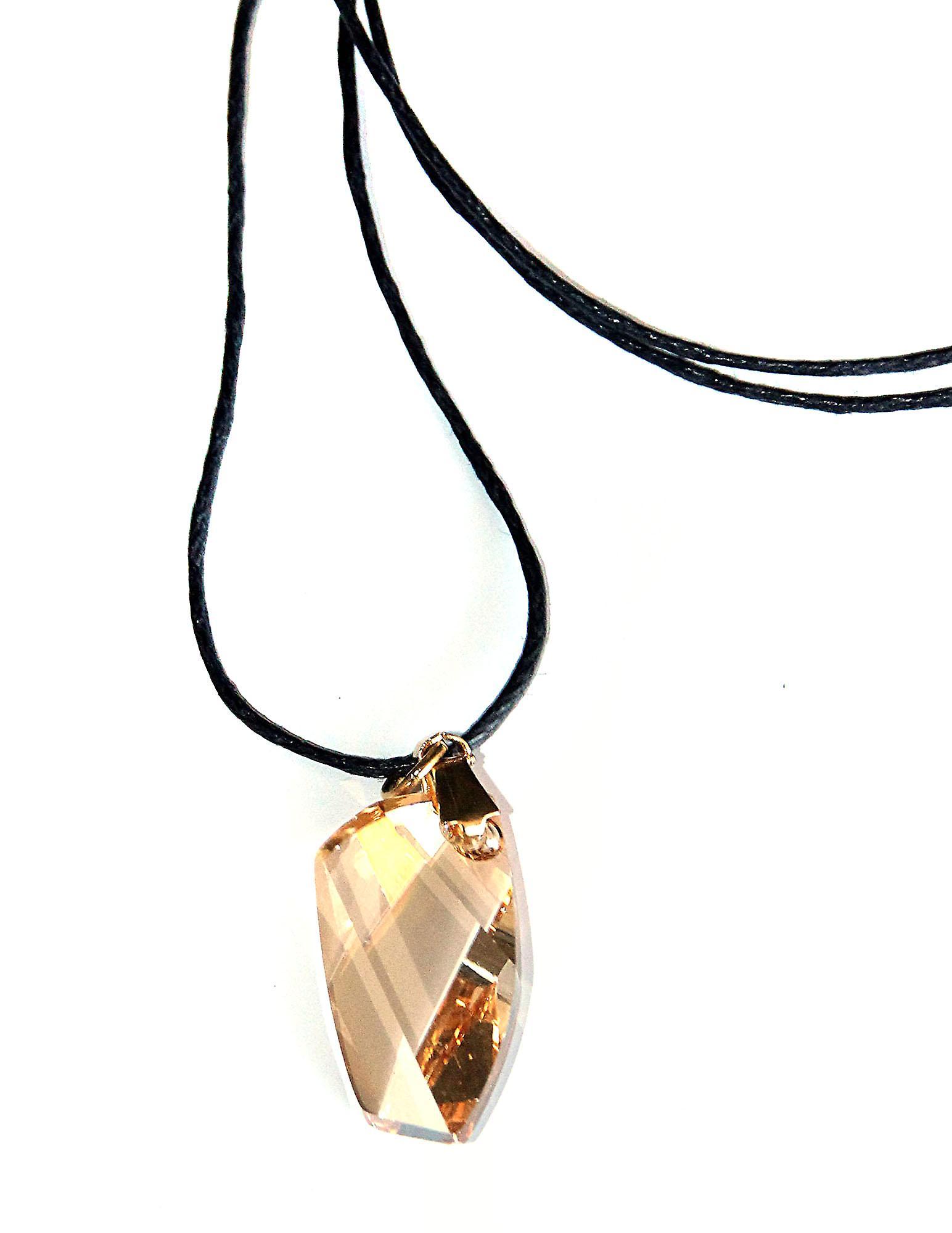 Waooh - Bijoux - Swarovski / Pendentif aile ambré jaune et cordon ciré
