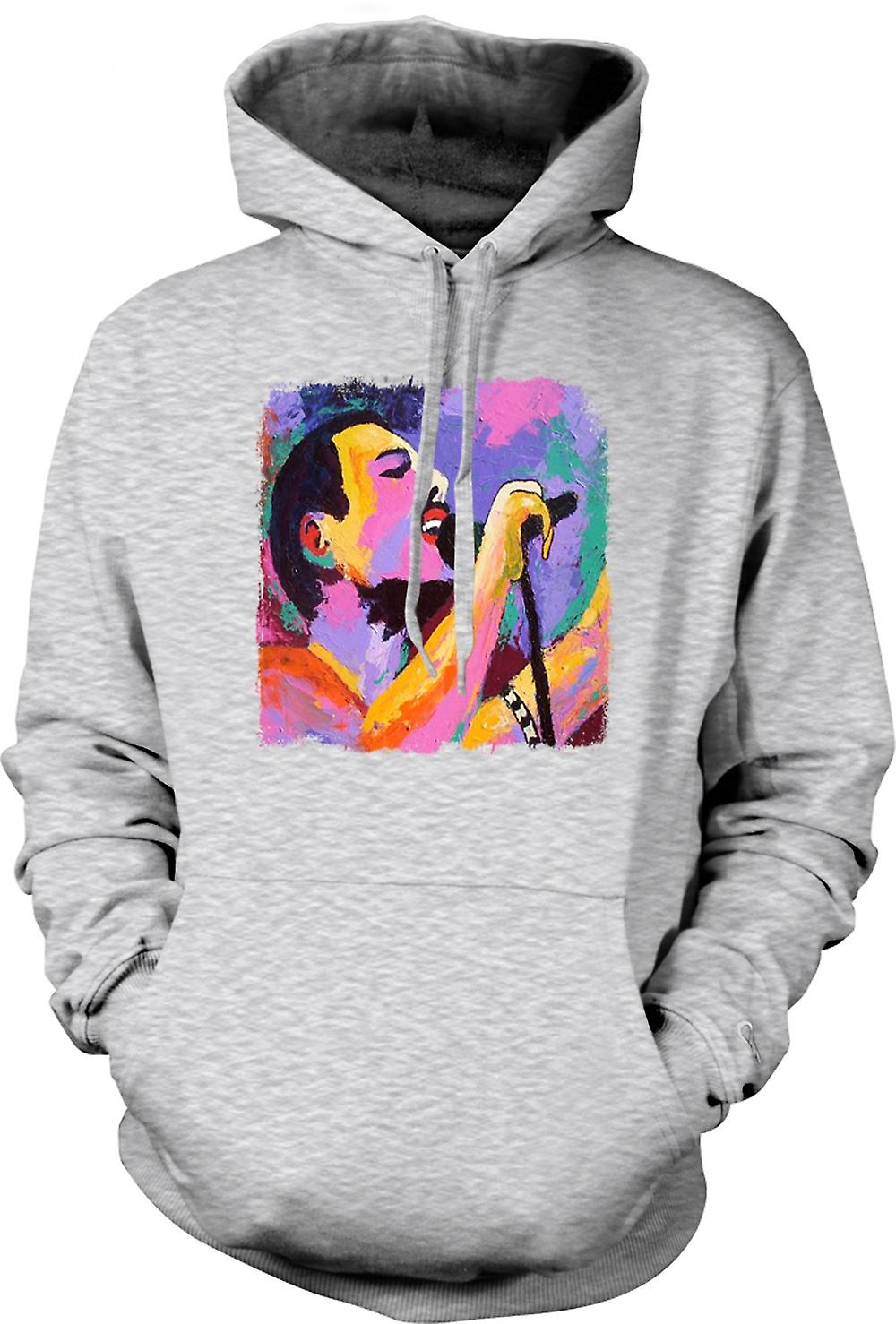 Mens Hoodie - Freddie Mercury - Brush Strokes - Pop Art