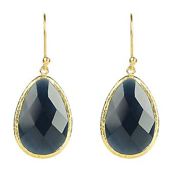 925 Silver Gemstone Dangle Drop Gold Earrings Navy Dark Blue Sapphire Hook Big