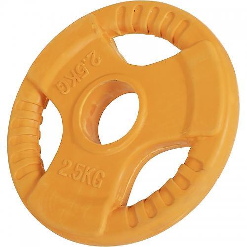 Poids disque 51mm en fonte rev�tement caoutchouc de 2,5kg avec poign�e