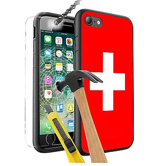 For Apple iPhone 6 - Switzerland Flag Design Printed Black Case Skin Cover with Tempered Glass - 0170 by i-Tronixs
