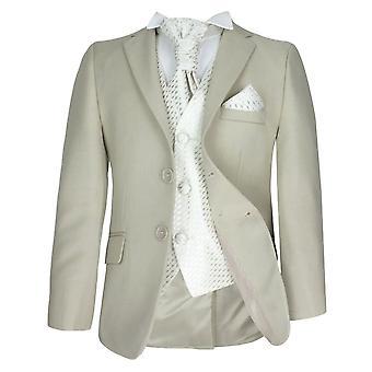 5 Stück jungen formale Beige & Elfenbein Pageboy Anzug, Hochzeit, Taufe Prom