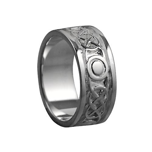 18ct White Gold 8mm Celtic Wedding Ring Size Q