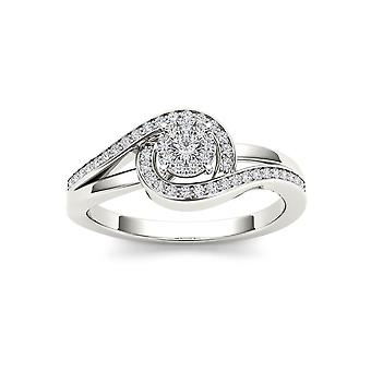 IGI Certified 10k WHITE Gold 0.2 Ct Rount Cut Diamond Bypass Engagement Ring