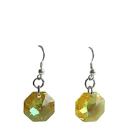 Lime Octagon Crystal Earrings 15mm Swarovski Sterling Silver Earrings
