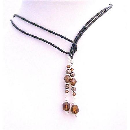 Swarovski Brown Peach Smoked Topaz Cube Crystal Lariat Necklace