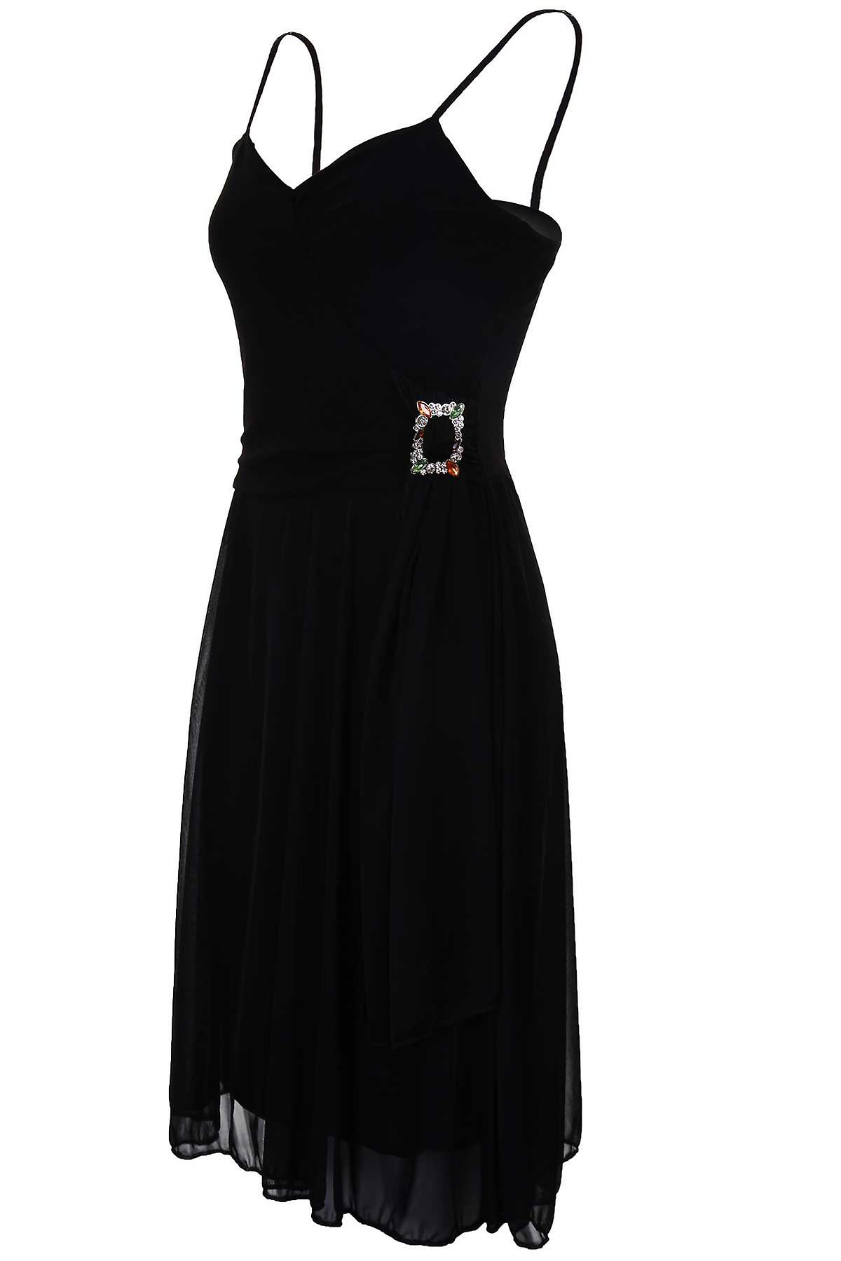 Ladies Strappy Gathered Lined Chiffon Diamante Buckle Women's Flare Cami Dress