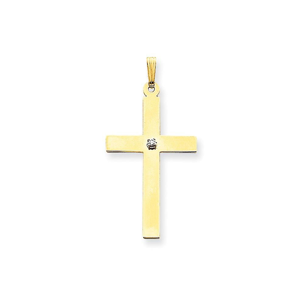 14k jaune or Solid Prong set Flat back Polished back Polished .03ct. Diamond Cross Pendant - Measures 25.1x50mm