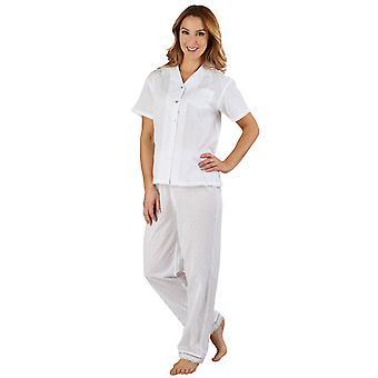 Slenderella PJ3233 vrouwen katoen geweven witte pyjama pyjama's Set