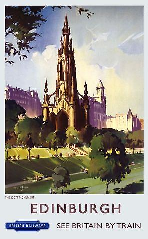 Edinburgh Scott Monument (old rail ad.) metal sign  (og 4030)