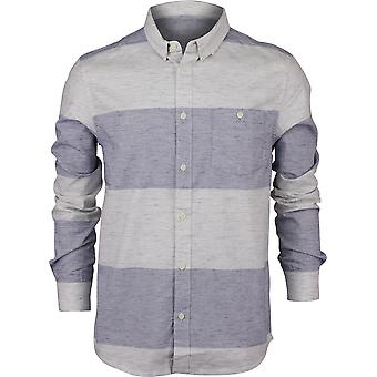 Quiksilver Mens Minoo Valley Stripes LS Shirt - Medieval Blue Marble Neppy