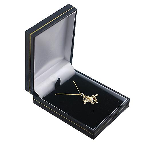 9ct Gold 17x21mm galloping Horse and Jockey Pendant with a curb Chain 16 inches Only Suitable for Children