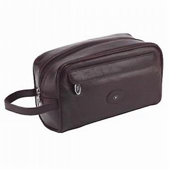Hans Kniebes German Leather Wash Bag in Brown