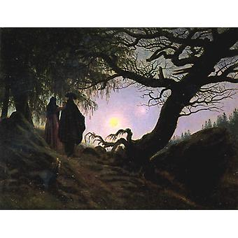 Man and Woman contemplating the, Caspar David Friedrich, 33x44cm
