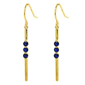 Ah! Jewellery Dangle Earrings With Sapphire Crystals From Swarovski In A Three Row Design