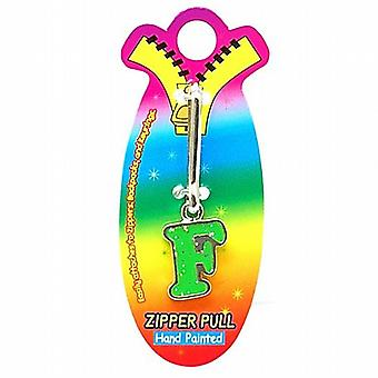 OOTB Initial F Green Hand Painted Base Metal 4.5 cm Glitter Zipper Puller