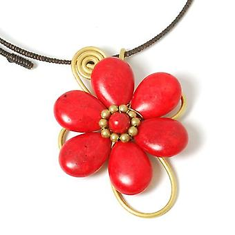 Peace of Mind Flower Burst Vibrant Red & Goldtone Bead Choker Pendant