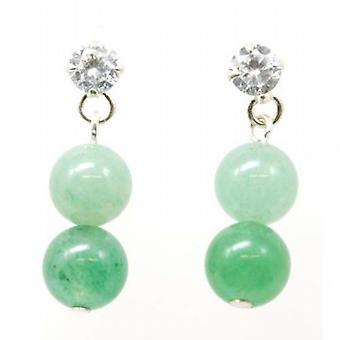 Toc Sterling Silver Green Aventurine Hanging Ball Earrings with Clear Cz
