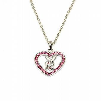 TOC Silvertone Pink Rhinestone Heart and Bunny Pendant on 16