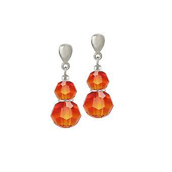 Eternal Collection Echo Fire Opal Austrian Crystal Silver Tone Drop Pierced Earrings