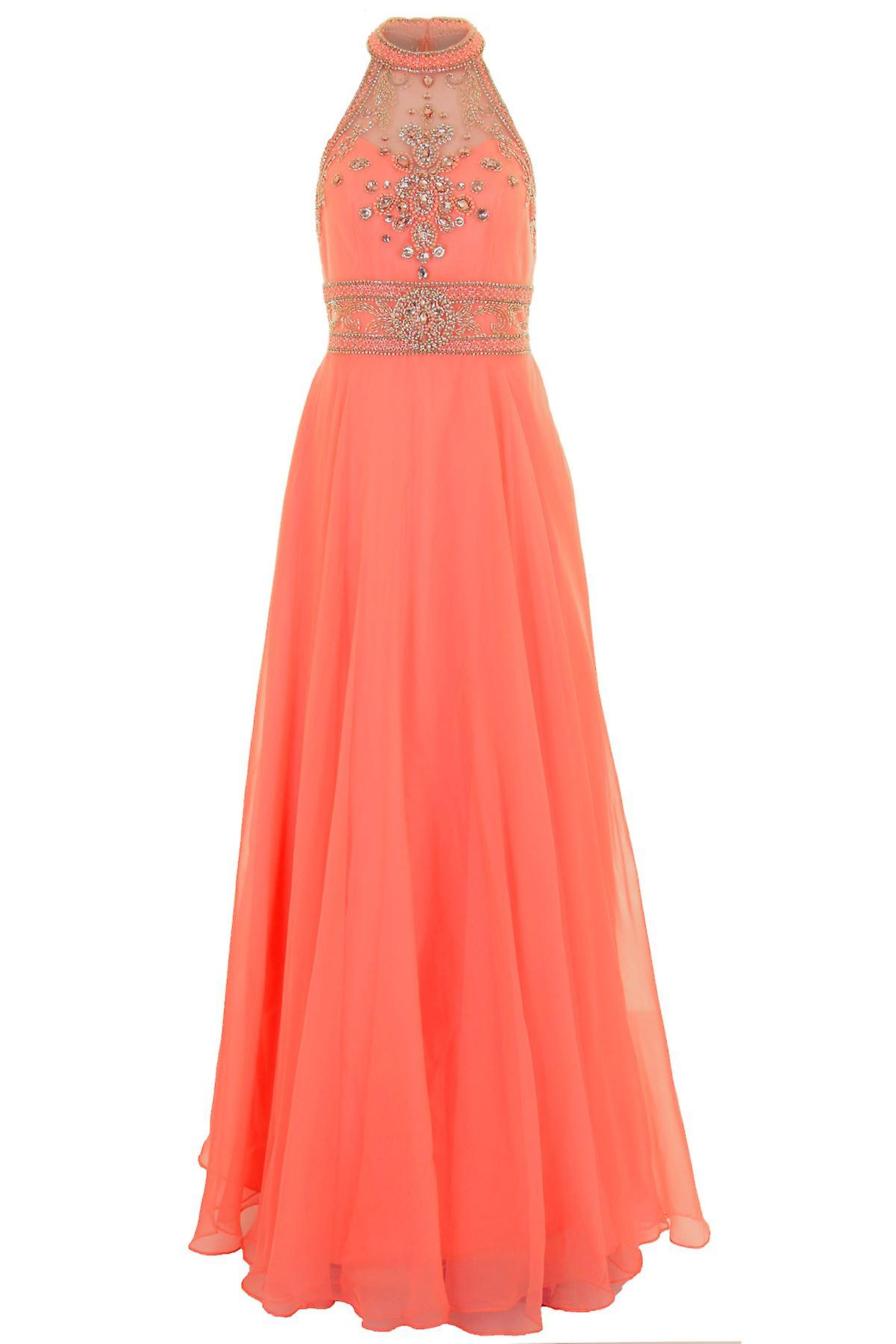 Long Sleeveless Chiffon Mesh Racer Back Maxi Party Prom Evening Gown Dress