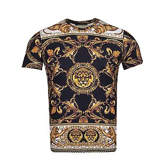 Oscar Banks Baroque Cheetah And Lion Print Mens T-Shirt
