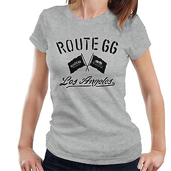 Route 66 Motorcycle Flags Los Angeles Women's T-Shirt