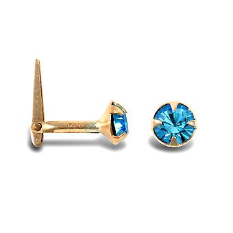 Jewelco London Ladies 9ct Yellow Gold Light Blue Round Cubic Zirconia Solitaire Claw Set Nose Stud