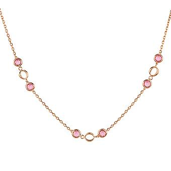 Link Gemstone Necklace Rose Gold Pink Tourmaline Wedding Gift Bridesmaid 925