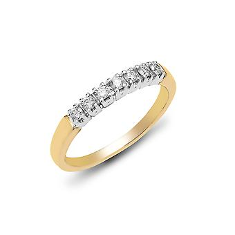 Jewelco London Ladies solid 9ct gult gull 4 klo sett rundt H i1 0,25 ct diamant 7 stein halv evighet ring 3mm