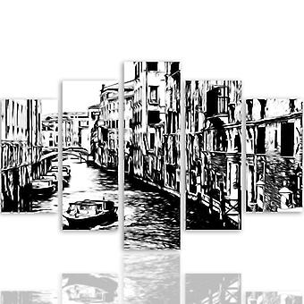 Five Part Picture On Canvas, Pentaptych, Type A, Venice Canal