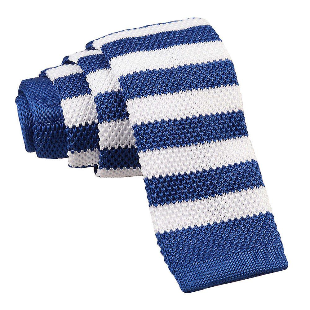 Knitted Royal Blue & White Striped Tie