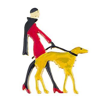 Butler  and  Wilson Vintage Enamel Lady Walking Dog Brooch  Red