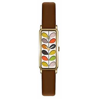 Orla Kiely Womans Patterned Dial Tan Leather Strap OK2104 Watch