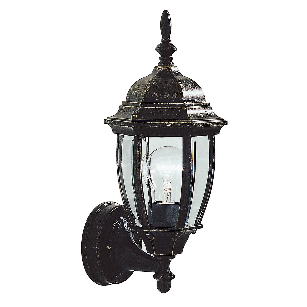 Dar HAM162235 Hambro Double Insulated Outdoor Wall Light In Black Gold Finish
