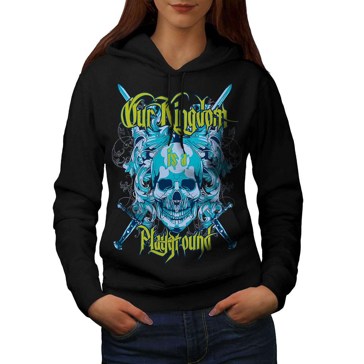 Kingdom Playground Skull Women Black Hoodie | Wellcoda